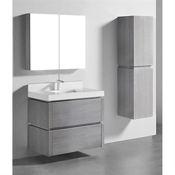"Madeli Cube 36"" Wall-Mounted Bathroom Vanity for Quartzstone Top, Ash Grey B500-36-002-AG-QUARTZ by Madeli"