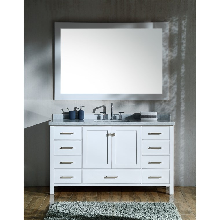 "Ariel Cambridge 61"" Single Sink Vanity Set with Rectangle Sink and Carrara White Marble Countertop - White A061S-CWR-WHT"