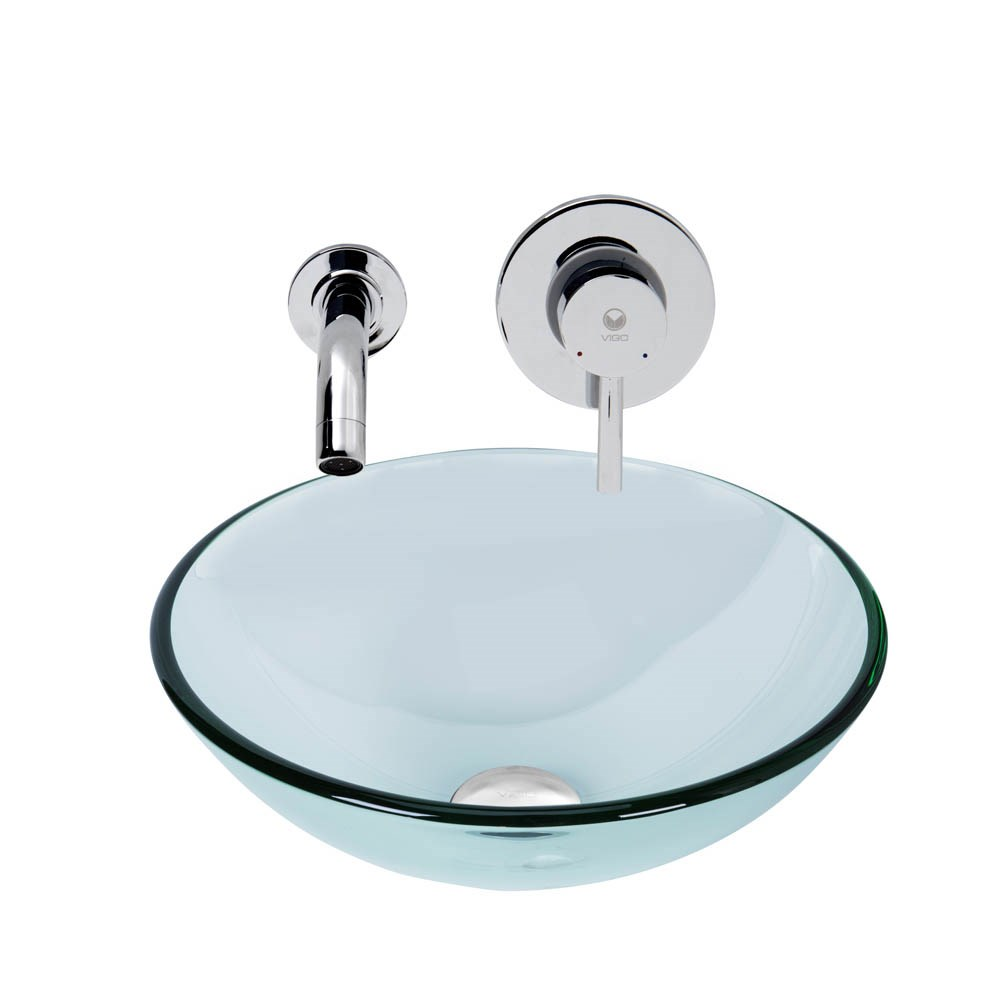 Vigo Crystalline Glass Vessel Sink And Olus Wall Mount Faucet Set In A Chrome Finish