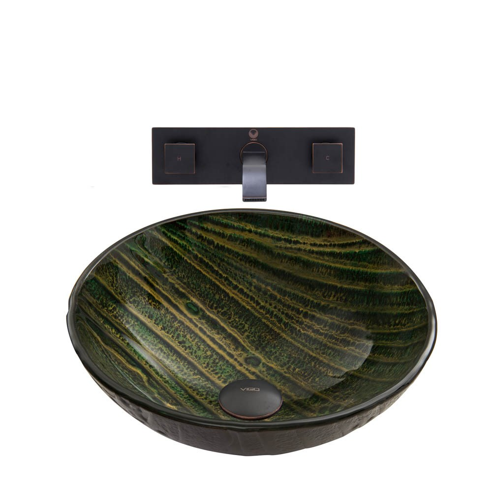 Vigo Green Asteroid Glass Vessel Sink And Titus Wall Mount Faucet Set In Antique Rubbed Bronze Finish