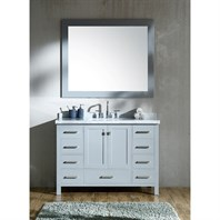"Ariel Cambridge 49"" Single Sink Vanity Set with Rectangle Sink and Carrara White Marble Countertop - Grey A049S-CWR-GRY"