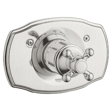Grohe Geneva Thermostat Trim with Cross Handle, Infinity Brushed Nickel by GROHE