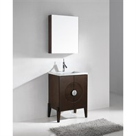 "Madeli Genova 24"" Bathroom Vanity with Quartzstone Top - Walnut B922-24-001-WA-QUARTZ"