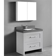 "Madeli Retro 36"" Bathroom Vanity for Quartzstone Top - Whisper Grey B700-36-001-WG-QUARTZ"