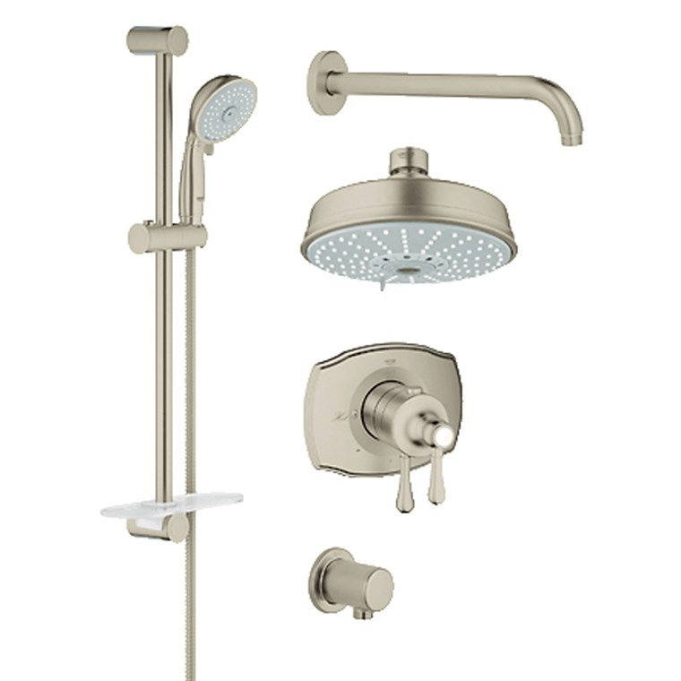 Grohe Grohflex Bath and Shower Set with Thermostat Valve - Brushed Nickel GRO 35054EN0