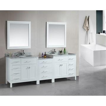 """Design Element London 92"""" Double Sink Vanity Set, White DEC076D-W-92 by Design Element"""
