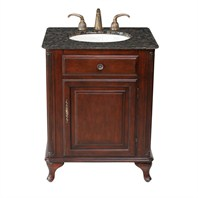 "Stufurhome 27"" Lucy Classic Single Sink Vanity with Baltic Brown Granite Top - Cherry GM-2212-27-BB"
