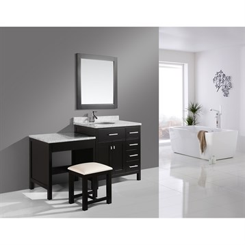 "Design Element London 36"" Vanity Set with Make-up Table, Espresso DEC076D_MUT by Design Element"