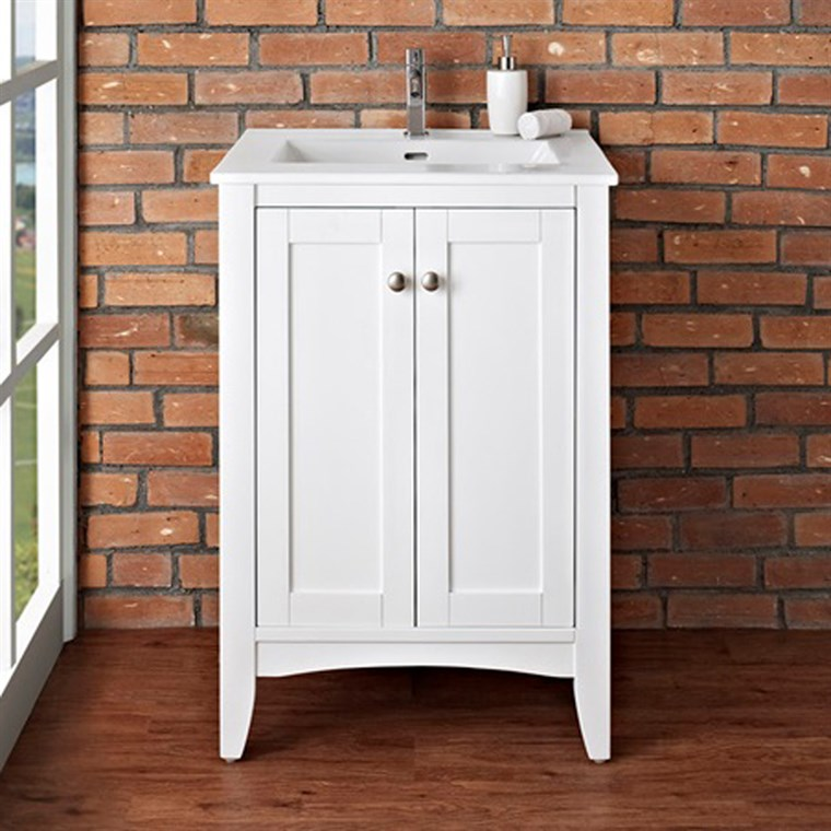 "Fairmont Designs Shaker Americana 24"" Vanity for Integrated Top - Polar White 1512-V24-"