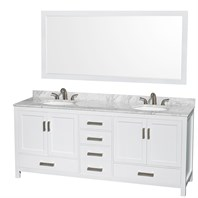 "Sheffield 80"" Double Bathroom Vanity by Wyndham Collection - White WC-1414-80-DBL-VAN-WHT"