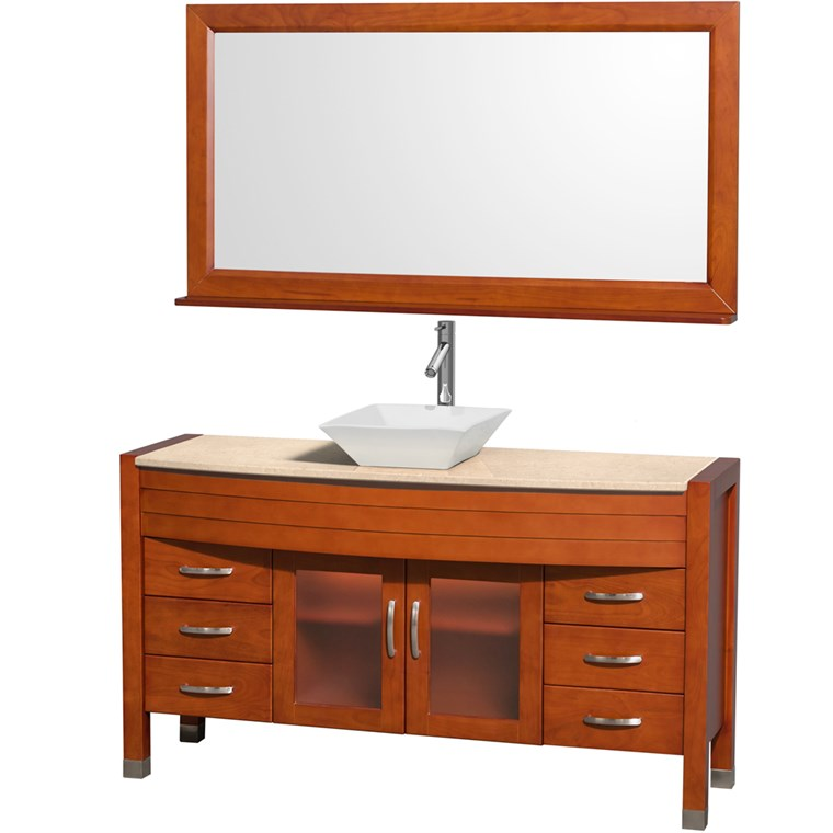 "Daytona 60"" Bathroom Vanity with Vessel Sink and Mirror by Wyndham Collection - Cherry WC-A-W2109-60-T-CH-"