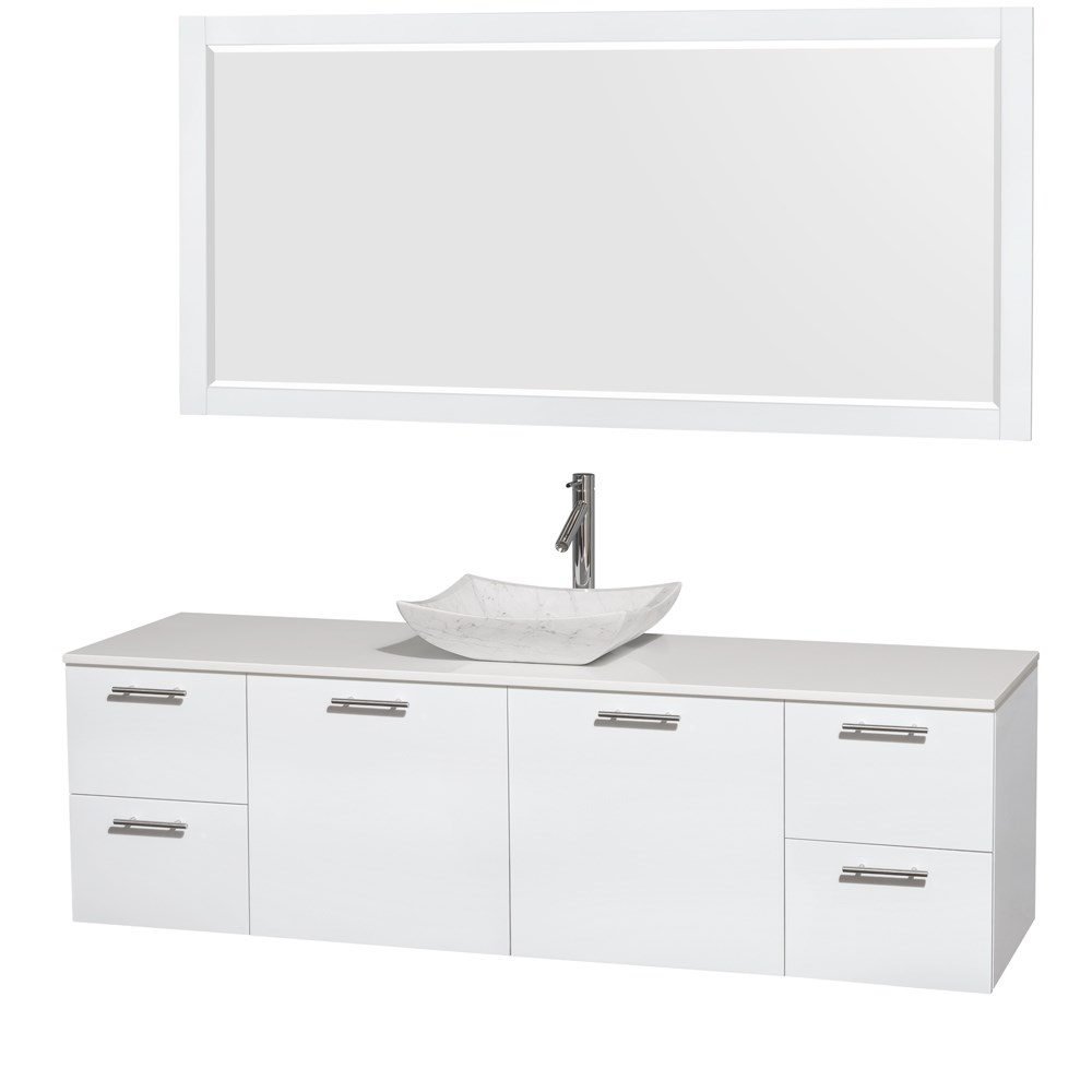 Miraculous Amare 72 Wall Mounted Single Bathroom Vanity Set With Vessel Sink By Wyndham Collection Glossy White Home Remodeling Inspirations Cosmcuboardxyz