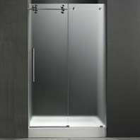 "VIGO 48-inch Frameless Shower Door 3/8"" Frosted/Stainless Steel Hardware Left with White Base - Center Drain VG6041STMT48LWM"