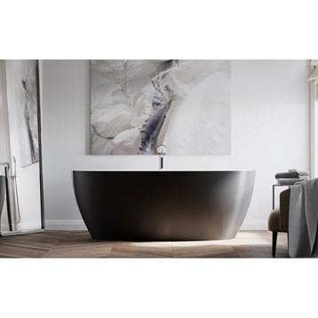 Aquatica Sensuality Black-wht Freestanding Solid Surface Bathtub - Matte Black And White