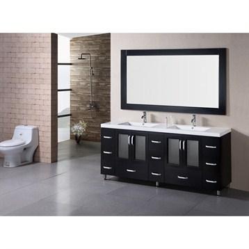 "Design Element Stanton 72"" Double Sink Bathroom Vanity Set w/ Drop-in Sinks, Espresso B72-DS by Design Element"