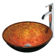 Vigo Industries Livorno Glass Vessel Sink w/ Vessel Filler