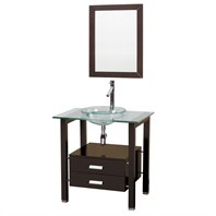 "Manta 32"" Wood Bathroom Vanity and Mirror Set with Glass Countertop - Espresso"