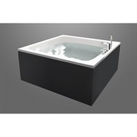 Aquatica Pool-Wht Freestanding Lucite with Microban Acrylic Tub, Wood Panel Frame Bathtub - White Tub, Hasiente Black Panel Frame Aquatica Pool-Wht