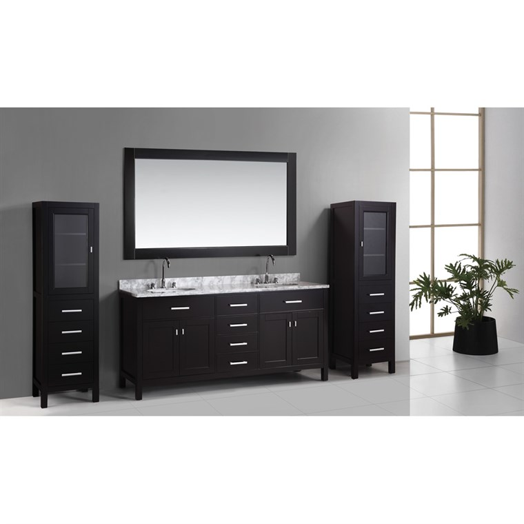 "Design Element London 72"" Double Vanity Set with 2 Linen Cabinets - Espresso DEC076B_CAB004X2"