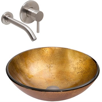 Vigo Liquid Gold Glass Vessel Sink and Olus Wall Mount Faucet Set in Brushed Nickel VGT341 by Vigo Industries