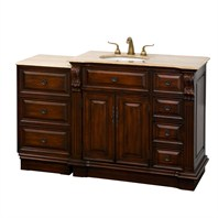 "Nottingham 55"" Traditional Single Bathroom Vanity with Drawers on Right - Antique Brown VC005-55-RIGHT-ANTBRN"