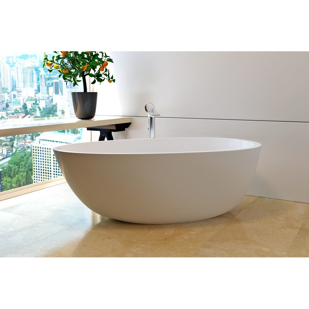 Aquatica Spoon 2 (Purescape 204AM) Egg Shaped Freestanding Solid Surface Bathtub - Matte Whitenohtin Sale $3995.10 SKU: Aquatica Spoon2WM :