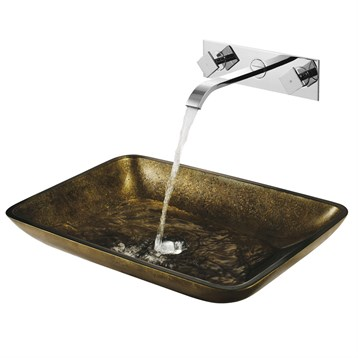 Vigo rectangular copper glass vessel sink and wall mount for Rectangular copper bathroom sink