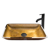 VIGO Rectangular Copper Glass Vessel Sink and Seville Faucet Set VGT515-