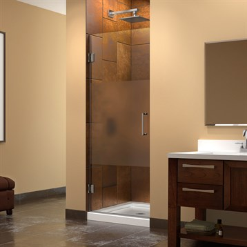"DreamLine Unidoor 23""-30"" W x 72"" H Hinged Shower Door, Half Frosted Glass Door SHDR-202X7210F-HFR by Bath Authority DreamLine"