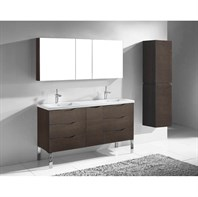 "Madeli Milano 60"" Double Bathroom Vanity for X-Stone Integrated Basins - Walnut B200-60-002-WA-XSTONE"