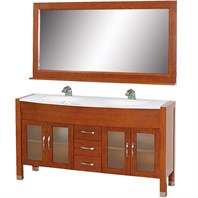 "Daytona 63"" Double Bathroom Vanity Set by Wyndham Collection - Cherry w/ Drawers WC-A-W2200-63-CH"