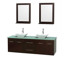 "Centra 72"" Double Bathroom Vanity Set for Vessel Sinks by Wyndham Collection - Espresso WC-WHE009-72-DBL-VAN-ESP"