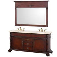 "Rutherford 72"" Traditional Double Bathroom Vanity w/ Drawers - Cherry H5051-72-CH"