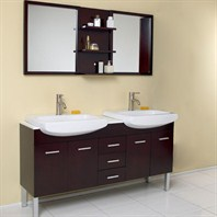 Fresca Vetta Espresso Modern Double Sink Bathroom Vanity with Mirror FVN6193ES