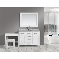 "Design Element London 42"" Bathroom Vanity Set with Make-up Table - White DEC076F-W_MUT-W"