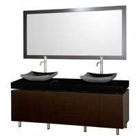 "Malibu 72"" Double Bathroom Vanity Set by Wyndham Collection - Espresso Finish with Black Absolute Granite Counter and Black Granite Sinks WC-CG3000-72-ESP-BLK-GR"