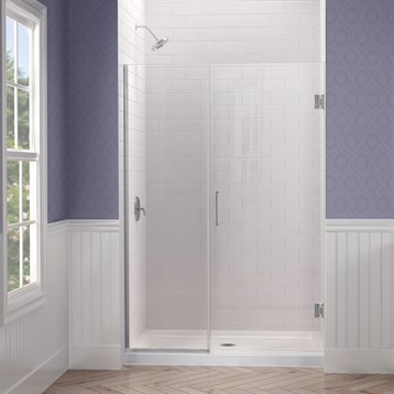 "DreamLine Unidoor Plus 45""-53"" W x 72"" H Hinged Shower Door With Stationary Panel SHDR-245XX7210 by Bath Authority DreamLine"