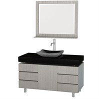 "Malibu 48"" Bathroom Vanity Set by Wyndham Collection - Gray Oak Finish with Black Absolute Granite Counter and Black Granite Sink WC-CG3000-48-GROAK-BLK-GR"