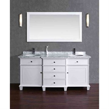 "Stufurhome Cadence White 60"" Double Sink Bathroom Vanity with Mirror, White HD-7000W-60-CR by Stufurhome"
