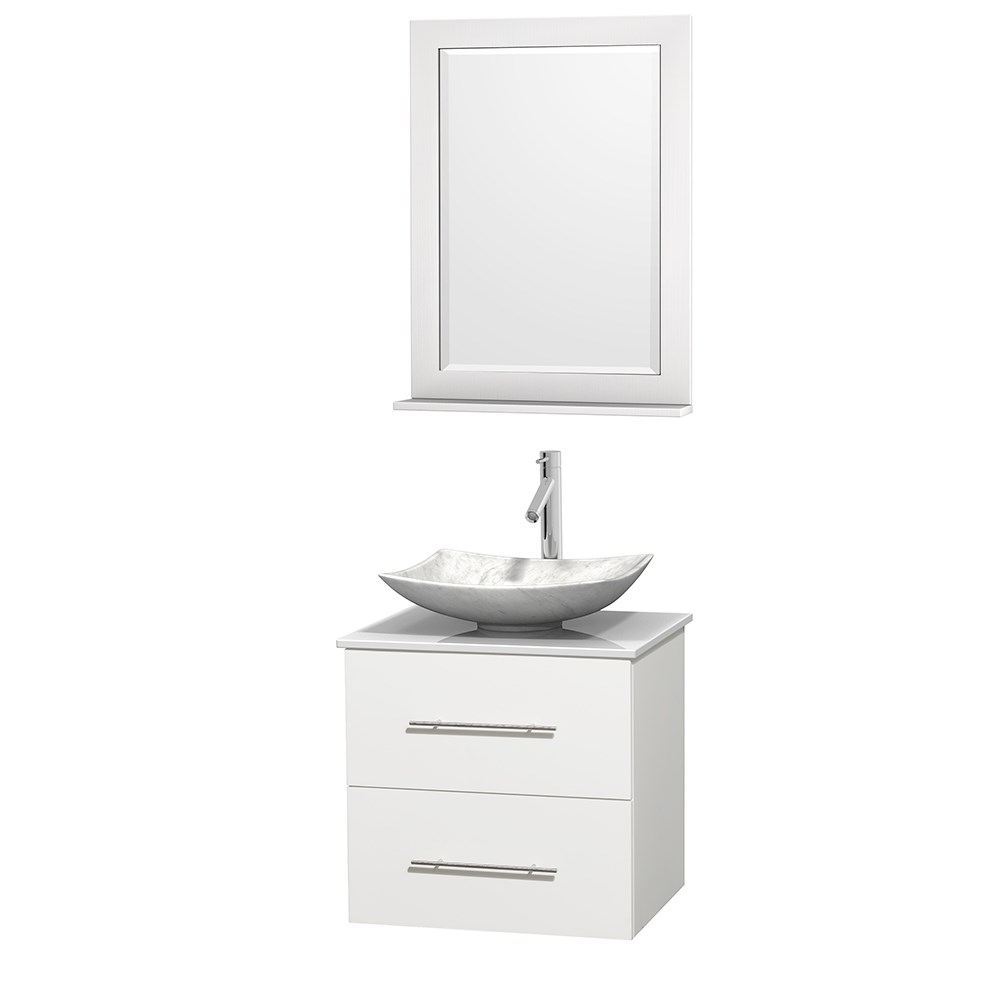 "Centra 24"" Single Bathroom Vanity for Vessel Sink by Wyndham Collection - Matte White WC-WHE009-24-SGL-VAN-WHT_"