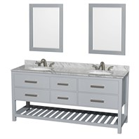 "Natalie 72"" Double Bathroom Vanity by Wyndham Collection - Gray WC-2111-72-DBL-VAN-GRY"