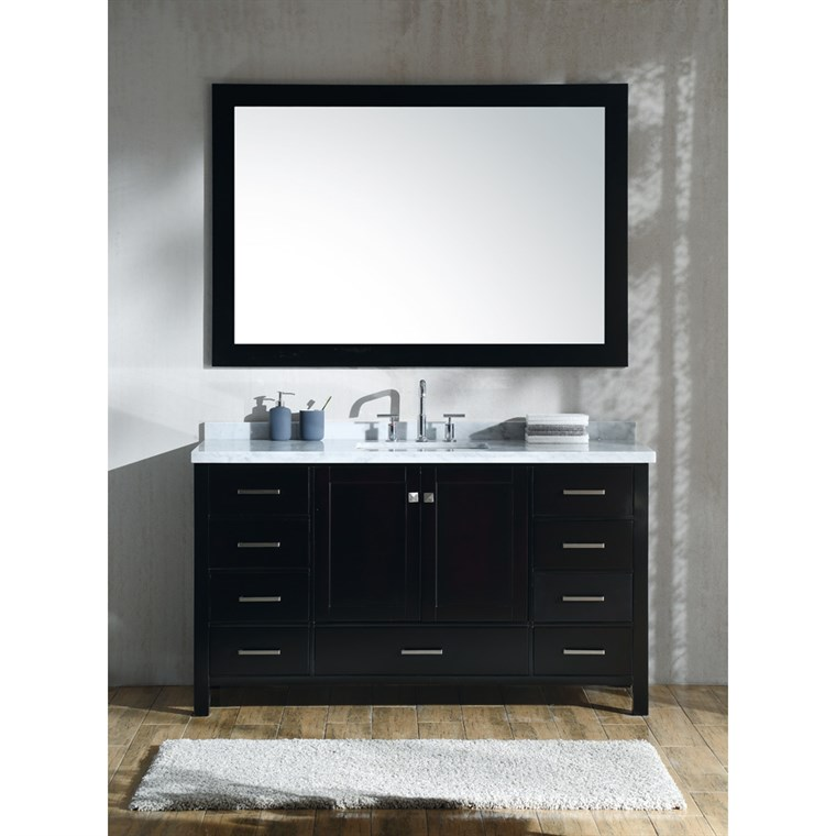 "Ariel Cambridge 61"" Single Sink Vanity Set with Rectangle Sink and Carrara White Marble Countertop - Espresso A061S-CWR-ESP"