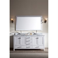 "Ariel Cambridge 73"" Double Sink Vanity Set with Carrera White Marble Countertop - White A073D-WHT"