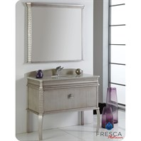 "Fresca Platinum London 40"" Antique Silver Bathroom Vanity with Swarovski Handles FPVN7526SA"