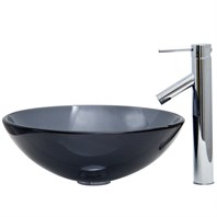 VIGO Sheer Black Glass Vessel Sink and Faucet Set in Chrome VGT250