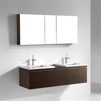 "Madeli Venasca 60"" Double Bathroom Vanity with Quartzstone Top - Walnut Venasca-60-WA-Quartz"