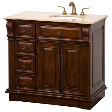 Nottingham 38 traditional single bathroom vanity with - Bathroom vanity with drawers on left ...