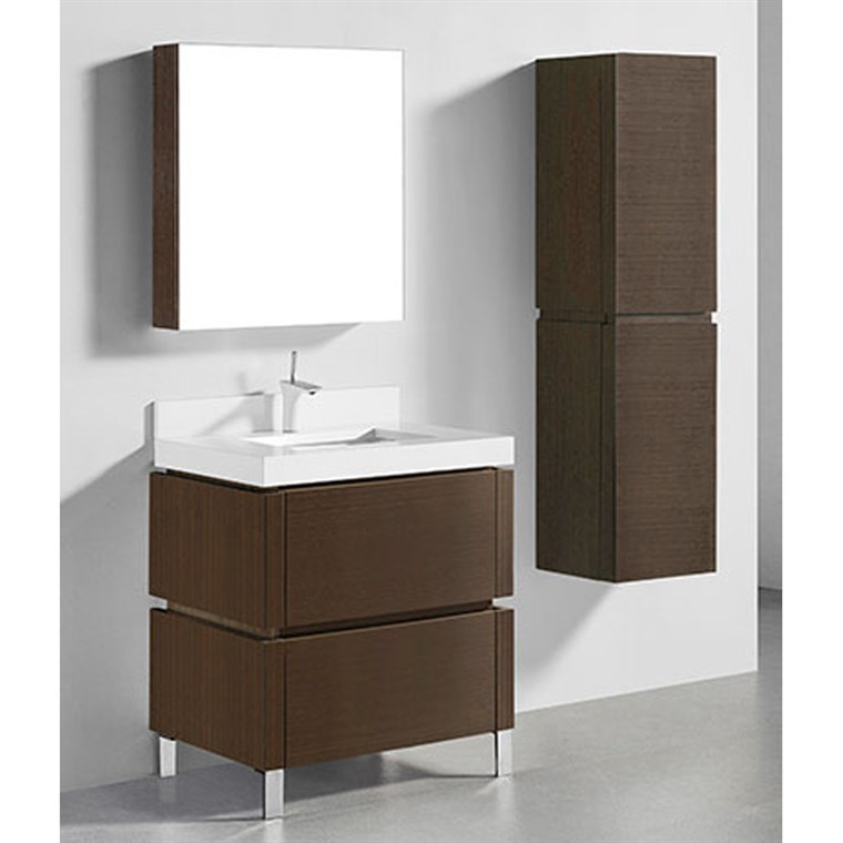 "Madeli Metro 30"" Bathroom Vanity for Quartzstone Top - Walnut B600-30-001-WA-QUARTZ"