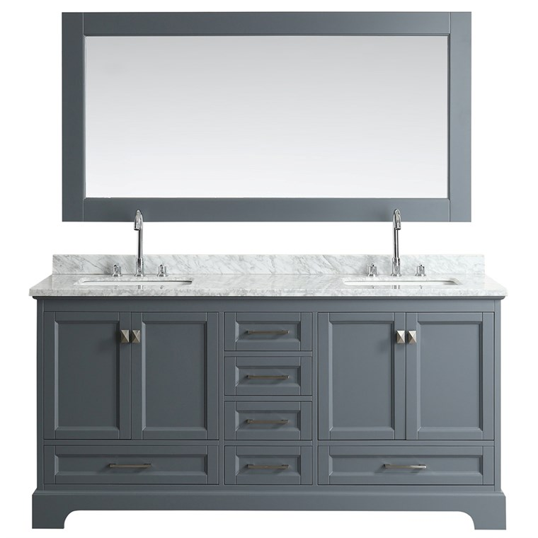"Design Element Omega 72"" Double Sink Vanity - Gray DEC068B-G"