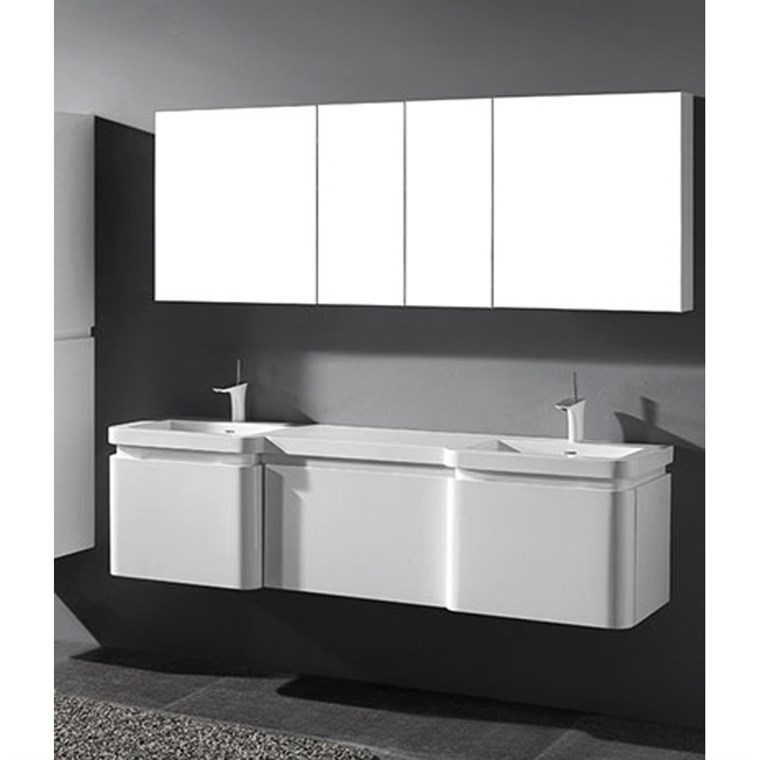 "Madeli Euro 72"" Double Bathroom Vanity for Integrated Basins - Glossy White 2X-B930-24-002-GW, UC930-24-007-GW"